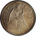 Seated Dollars: , 1846-O $1 AU55 PCGS. Peach and plum-mauve toning embraces thispartly lustrous and nicely str...