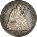 Seated Dollars: , 1849 $1 MS60 PCGS. Rich sun-gold and pale mauve patina dominatesthis flashy better date No M...