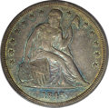 Seated Dollars: , 1845 $1 AU55 PCGS. Rich ocean-blue, apricot, and champagne-rosetoning drapes this rare date ...