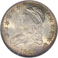 "Bust Half Dollars: , 1823 50C Ugly 3 MS65 NGC. O-110a, R.3. Called the ""Ugly 3 variety""because of the mint repair on the middle of the 3 in the..."
