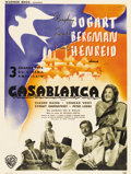 "Movie Posters:Drama, Casablanca (Warner Brothers, 1940s). Post-War French Petite (23.5"" X 31.5"")...."