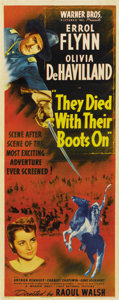 "Movie Posters:Western, They Died with Their Boots On (Warner Brothers, 1941). Insert (14"" X 36"")...."