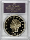 """S.S.C.A. Relic Gold Medals, SSCA Relic Gold Medal """"1855"""" Kellogg & Co. Fifty DollarGem Proof PCGS...."""
