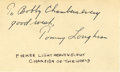 Boxing Collectibles:Autographs, Tommy Loughran Signed Index Card. At the light heavyweight levelHall of Famer Tommy Loughran defeated the future heavyweig...