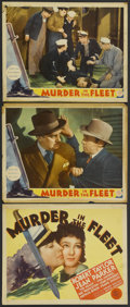 "Movie Posters:Mystery, Murder in the Fleet (MGM, 1935). Title Lobby Card and Lobby Cards(2) (11"" X 14""). Mystery.... (Total: 3 Items)"