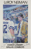 Football Collectibles:Balls, LeRoy Neiman Lithograph Signed by Tom Landry, Bob Lilly, and Roger Staubach. Three legends in the storied past of the Dalla...