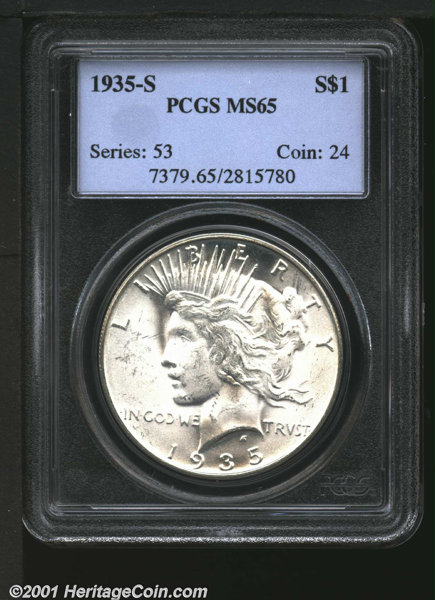 1935 S S1 Peace Dollars Lot 2510 Heritage Auctions