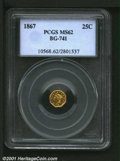 California Fractional Gold: , 1867 25C BG-741