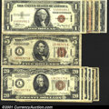 Small Size:World War II Emergency Notes, A mini-hoard of Hawaii overprint notes, including: (6) $1s, gra...