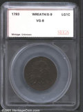 Additional Certified Coins: , 1793WREATH 1C VINE/BARS, BN