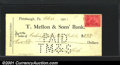 Miscellaneous:Checks, 1901 check from the T. Mellon & Sons' Bank, Pittsburgh, PA,XF....