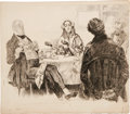 Illustration:Books, CHARLES DANA GIBSON (American 1867 - 1944) . Mr. and Mrs.Micawber, David Copperfield, and Traddles, circa 1938 . Inkon...