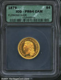 Proof Four Dollar Gold Pieces: , 1879 $4 FLOW HAIR