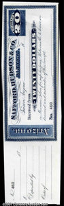 Miscellaneous:Checks, $20 Safford, Hudson & CO, Bankers, Tucson, AZ, CU. Payable inM...