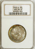 1935-D 50C Arkansas MS67 NGC. Much of this softly lustrous Superb Gem is sky-blue and silver-gray with gold-orange patin...