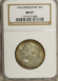 1936 50C Bridgeport MS67 NGC. Henry Kreis, who designed the Connecticut half, obtained the commission for the Bridgeport...