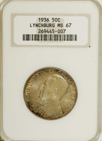 1936 50C Lynchburg MS67 NGC. On the delightfully toned reverse of this Lynchburg half, Liberty stands before the town co...