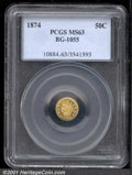California Fractional Gold: , 1874 50C BG-1055