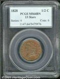 1828 1/2 C MS 64 Brown PCGS. B-2B, C-3, R.1. Attractive, mahogany patina, with traces of blue, overlays the original lus...