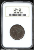 1846 1C Small Date MS 64 Brown NGC. The stars exhibit a few incomplete radials, otherwise the strike is bold and the cho...