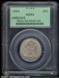 Seated Quarters: , 1854 25C ARROWS