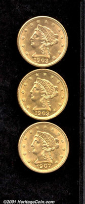 1903 $2 1/2 MS 60 Lightly Cleaned; 1903 MS 60 Rim Damage; and a 1907 MS 60 Obverse Dig, good luster for the grade