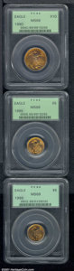 1995 G$5 Tenth-Ounce Gold eagle MS 68 PCGS; 1996 Tenth-Ounce Gold eagle MS 69 PCGS; and a 1990 Quarter-Ounce Gold Eagle...