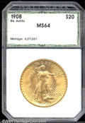 Additional Certified Coins: , 1908 $20 NO MOTTO