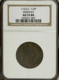 Colonials: , 1723/2 1/2P Hibernia Halfpenny AU53 NGC. Large 3. Pellet before H.Breen-152. Much scarcer than the non-overdate variety. T...