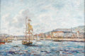 Fine Art - Painting, American:Contemporary   (1950 to present)  , JOHN CLYMER (American 1907-1989). French Boat In A Harbor.Oil on canvas. 24 x 36 inches (61 x 91.4 cm). Signed lower le...