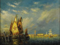 Fine Art - Painting, American:Modern  (1900 1949)  , FREDERICK LEO HUNTER (American 1858-1943). Old East IndiaDocks, 1919. Oil on canvas. 18 x 24 inches (45.7 x 60.1 cm).S...