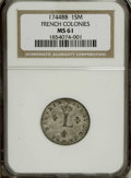 Colonials: , 1744-BB SOU M French Colonies Sou Marque MS61 NGC. Breen-616.Vlack-257, R.2. Olive silvering ...