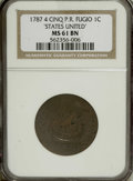 Colonials: , 1787 1C Fugio Cent, STATES UNITED, Cinquefoils MS61 Brown NGC. Newman 13-X, R.1. A satiny piece is chocolate-brown save for...