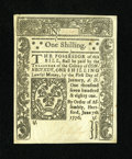 Colonial Notes:Connecticut, Connecticut June 7, 1776 1s Uncancelled Choice About New+++.Thisbeautiful uncancelled note faces up as one of the loveliest...