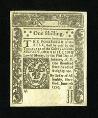 Connecticut June 7, 1776 1s Uncancelled Choice About New+++.This beautiful uncancelled note faces up as one of the lovel...