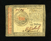 Continental Currency January 14, 1779 $45 New. Bold signatures and serial number are complemented by prominent embossing...