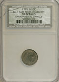 Early Half Dimes: , 1795 H10C --Environmental Damage--NCS. VF Details. Ex: Jules ReiverCollection. V-2a, LM-3, R.5. Deep lilac and olive with d...