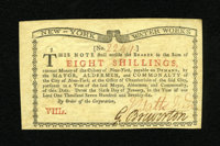 New York January 6, 1776 (Water Works) 8s Gem New. Broad margins, exceptional punch through embossing and boldly signed...