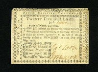 """North Carolina May 10, 1780 $25 About New. The technical grade on this lovely note is About New with the motto """"Ter..."""