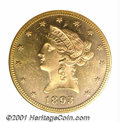 1893 $10 MS 63 Deep Mirror Prooflike ANACS. The fields on both sides are deeply reflective and contrast nicely with the...