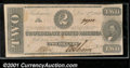 Confederate Notes:1862 Issues, 1862 $2 Judah P. Benjamin, T-54, VF-XF. This note was part of a...