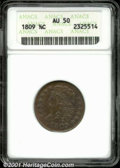 """1809 1/2 C AU 50 Brown ANACS. Mintage: 1,154,572. The latest Coin World """"Trends"""" price is $325.00. The current..."""