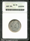 """1893 25C AU 55 ANACS. Mintage: 5,444,815. The latest Coin World """"Trends"""" price is $145.00. ...(PCGS# 5604)"""