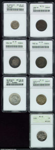 1806 1/2 C Small 6, No Stems half cent VG 10 ANACS, deeply toned with some dark verdigris; 1832 half cent VF 30 ANACS, w...