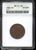 1806 1/2 C Small 6, No Stems MS 61 Red and Brown ANACS. B-3, C-1, R.1. Well defined on the reverse but somewhat lacking...
