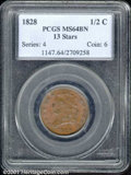 1828 1/2 C 13 Stars MS 64 Brown PCGS. Even brown patina covers both sides with a few carbon spots that prevent an even h...