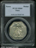 1925 Medal Norse MS 64 PCGS. Thick. Lightly toned and lustrous with a couple of darker spots on the reverse....(PCGS# 94...