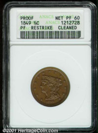 1849 1/2 C Restrike--Cleaned--ANACS. Proof, Net PR 60. B-2, High R.6. Lightly cleaned, the fields are reflective and the...
