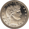 Proof Barber Quarters: , 1911 25C PR67 Ultra Cameo NGC. The 1911 has the third lowest mintage in the series with only 543 pieces produced. Proofs of...