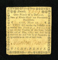 Colonial Notes:Rhode Island, Rhode Island May 22, 1777 $1/9 Extremely Fine. The technical gradeon this 1777 Rhode Island note is that of a well embossed...